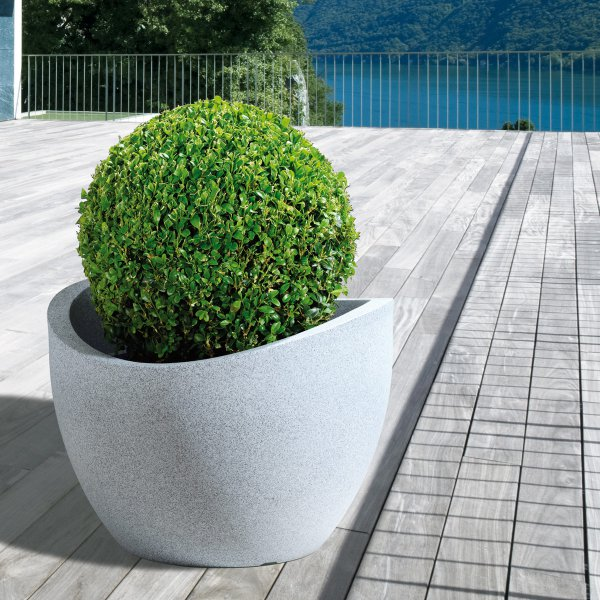 Scheurich planter 250 wave globe white granite effect planter ...