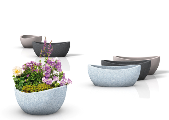 scheurich planter wave globe jardiniere trough granite effect. Black Bedroom Furniture Sets. Home Design Ideas